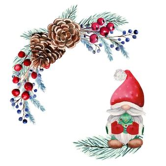 Акварель круглая рамка с рождественский гном, ягоды, еловые шишки, еловые ветки.