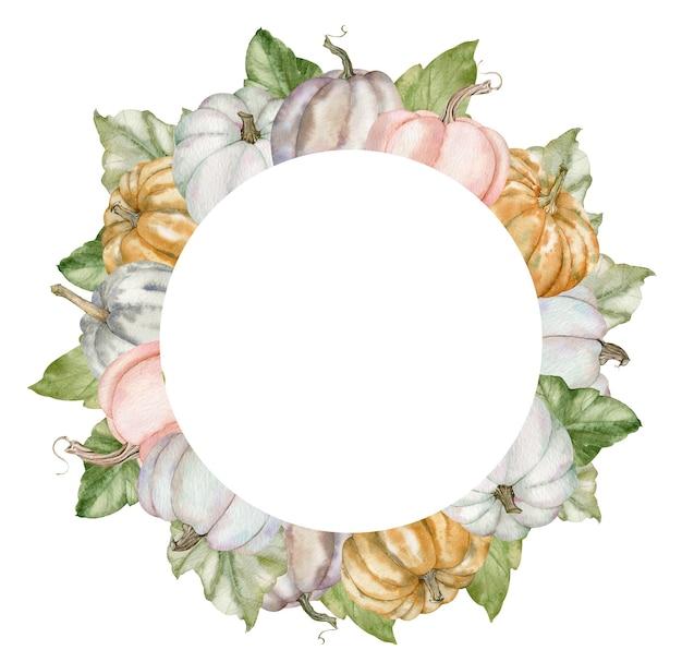 Акварель круглая рамка с красочными тыквами и зелеными листьями. ботаническая осенняя иллюстрация. праздник благодарения и шаблон осени для вашего дизайна.