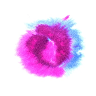 Watercolor round shaped blot in blue and pink colors.