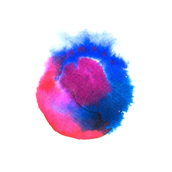 Watercolor round shaped blot in blue and pink colors