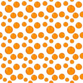 水彩の丸い汚れドットパターン。白い背景の上のオレンジ色のドットとのシームレスなパターン。手描きの抽象的な壁紙