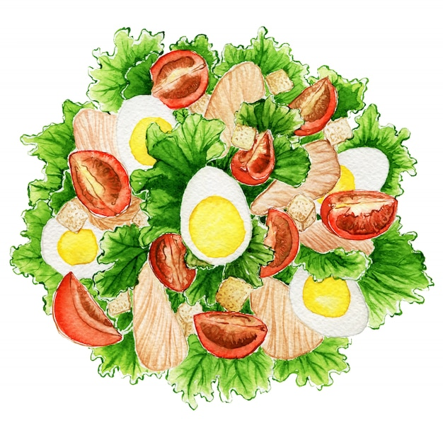 Watercolor salad with eggs and tomatoes