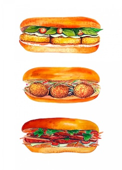 Watercolor sandwich set isolated on white background.
