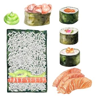 Watercolor sashimi, maki, sushi and wasabi.