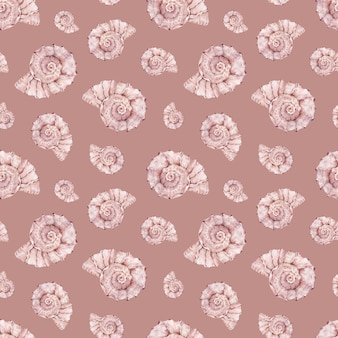 Watercolor sea shell pattern. pink ocean life wall.