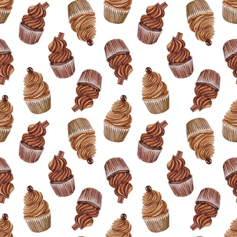 Акварель бесшовный фон с шоколадными кексами