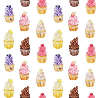 Watercolor seamless background with cupcakes