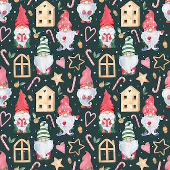 かわいいリトルクリスマスノームと水彩のシームレスな背景。カラフルな緑と赤の帽子の新年のノーム。木造住宅、スティックキャンディー、ハート、スター。