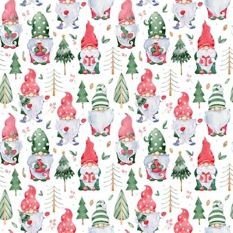 かわいいリトルクリスマスノームと水彩のシームレスな背景