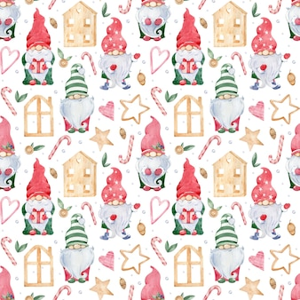 Watercolor seamless background with little christmas gnomes in colorful green and red hats and wooden houses