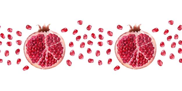Watercolor seamless border juicy ripe pomegranates