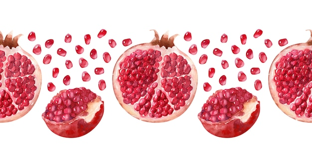 Watercolor seamless border juicy ripe pomegranates