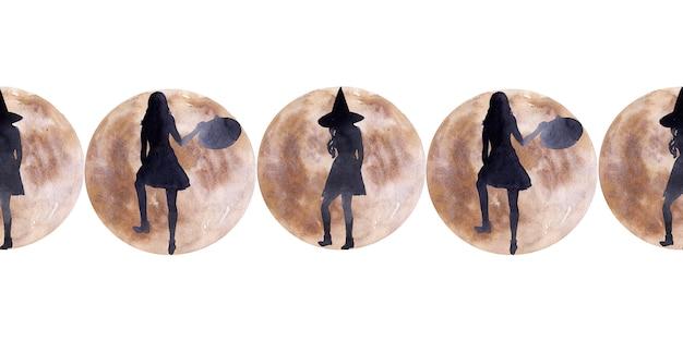 Акварель бесшовные границы на тему праздника хэллоуин.