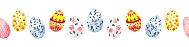흰색 바탕에 부활절을위한 다채로운 부활절 달걀으로 수채화 원활한 국경