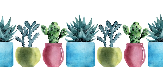Watercolor seamless border with different types of cacti in multicolored pots