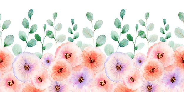 Акварель бесшовная граница с handdrawn цветами и листьями