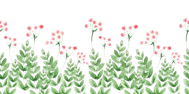 Watercolor seamless border with handdrawn flowers and leaves