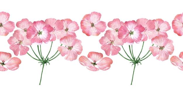 꽃이 핌, 꽃, 꽃 봉오리와 제라늄 식물의 잎 수채화 원활한 테두리