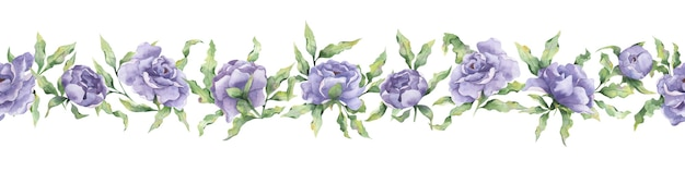 Watercolor seamless border with large lilac peony flowers and leaf branches on a white background
