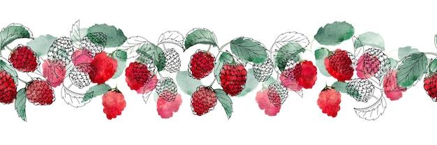 복사 공간이 있는 흰색 배경에 붉은 열매와 녹색 잎이 있는 수채화 원활한 테두리