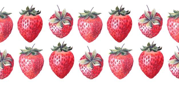 Акварельная бесшовная рамка со спелыми ягодами и веточкой клубники