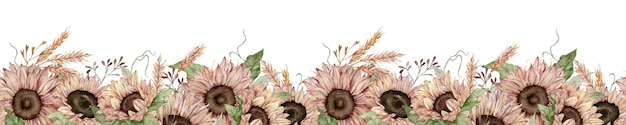 ひまわりと小麦の耳と水彩のシームレスな境界線。無限の花の秋のボーダー。