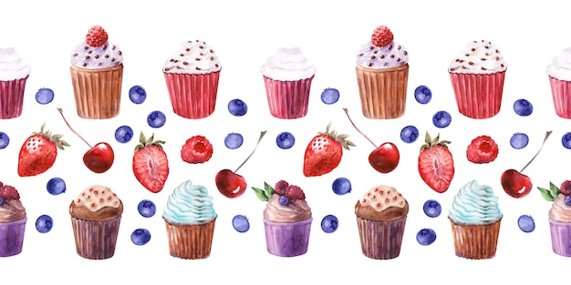 Watercolor seamless border with various cupcakes and ripe strawberries, blueberries, cherries and raspberries