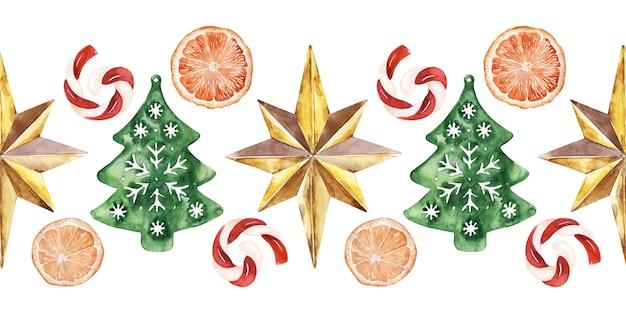 새해 휴일의 다양한 축제 속성과 수채화 원활한 테두리