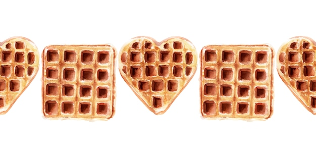 Watercolor seamless border with wafers of various shapes. heart waffles, square waffles, and round waffles