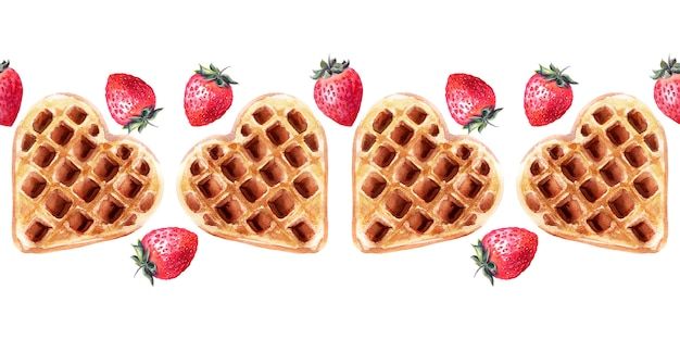 Watercolor seamless border with wafers of various shapes. heart waffles