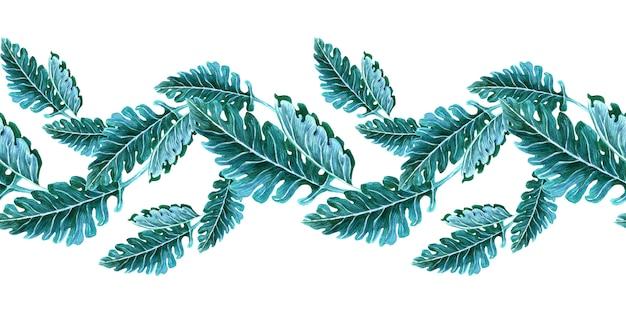 Акварель бесшовные граничит с весенними цветами, бутонами и ветками с листьями