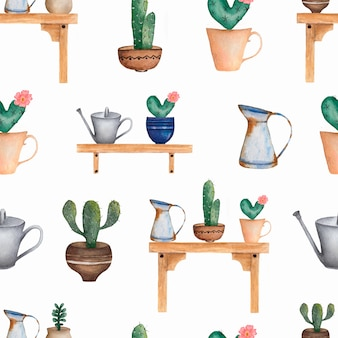 Watercolor seamless cacti flower pattern.