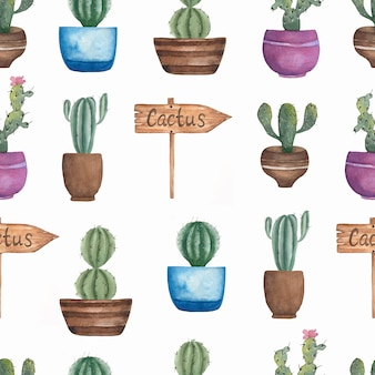 Watercolor seamless cacti flower pattern