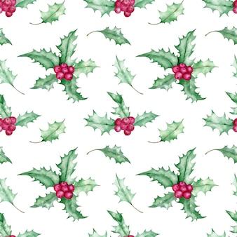 水彩画のシームレスなクリスマスヤドリギパターン。冬の緑の葉と赤い実。手描きの植物の背景。