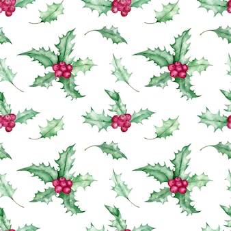 Watercolor seamless christmas mistletoe pattern. winter green leaves and red berries. hand-drawn botanical background.