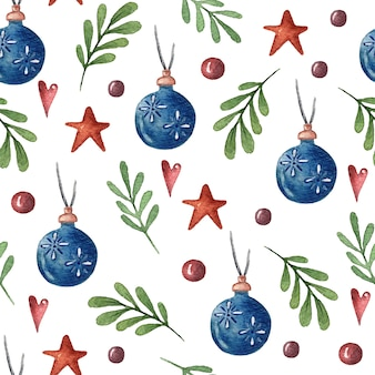 Watercolor seamless christmas pattern with a decorated christmas toys boot plants heart and stars