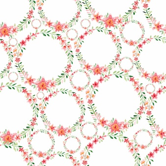 Watercolor seamless colorful flower wreath pattern.