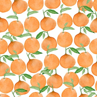 Watercolor seamless colorful orange fruit pattern.