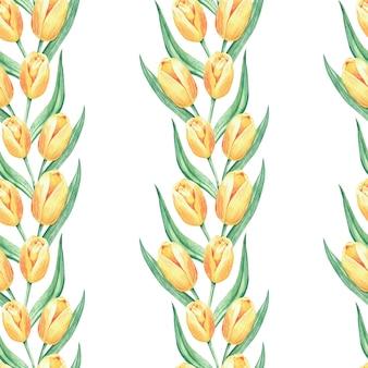 Акварель бесшовные цветочный узор с большими желтыми цветами тюльпана