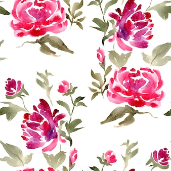 Watercolor seamless floral peonies pattern for fabric or textile