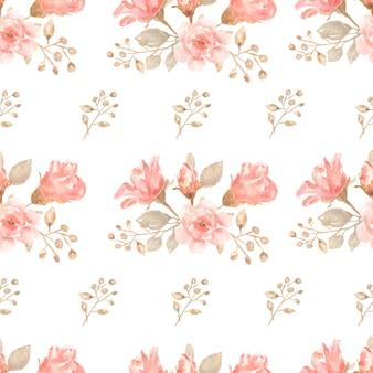 Watercolor seamless flower bouquets pattern.