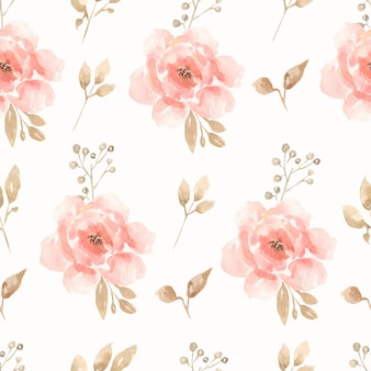 Watercolor seamless flower peonies and roses bouquet pattern.