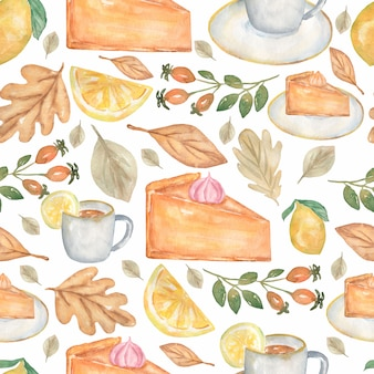 Watercolor seamless homemade pies desserts