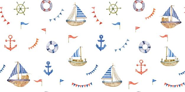 白い背景で隔離のsailboatsanchors救命浮環と水彩のシームレスな航海パターン