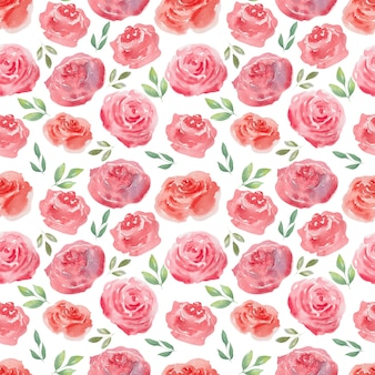 Watercolor seamless pattern of air roses and hearts. festive background