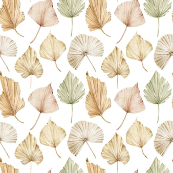 Watercolor seamless pattern of beige and creamy palm leaves. exotic blush background. tropical pattern.
