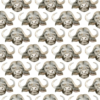 Watercolor seamless pattern of black african buffalo head.