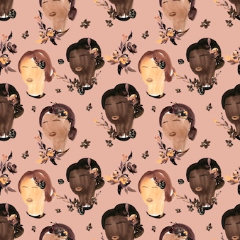 Watercolor seamless pattern for black lives matter
