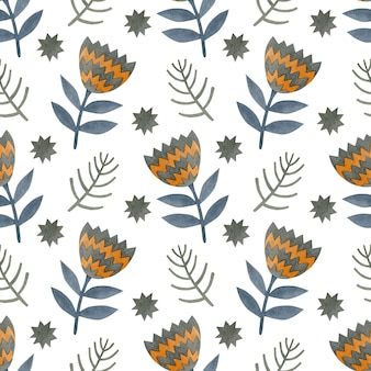 Watercolor seamless pattern of branches flowers stars