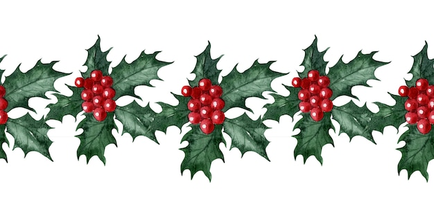 Watercolor seamless pattern of christmas flower holly
